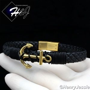 "8.25""Black/Gold Anchor Braided Leather Bracelet*87"
